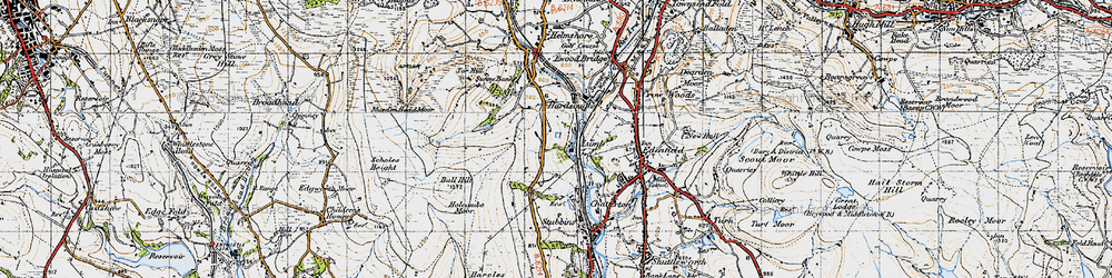 Old map of Wet Moss in 1947