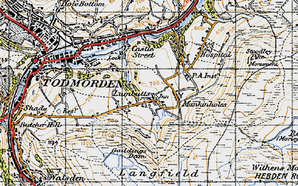 Old map of Lumbutts in 1947