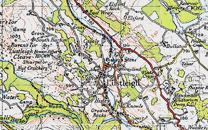 Old map of Lustleigh in 1946