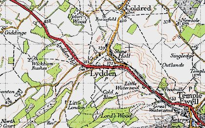Old map of Wickham Bushes in 1947