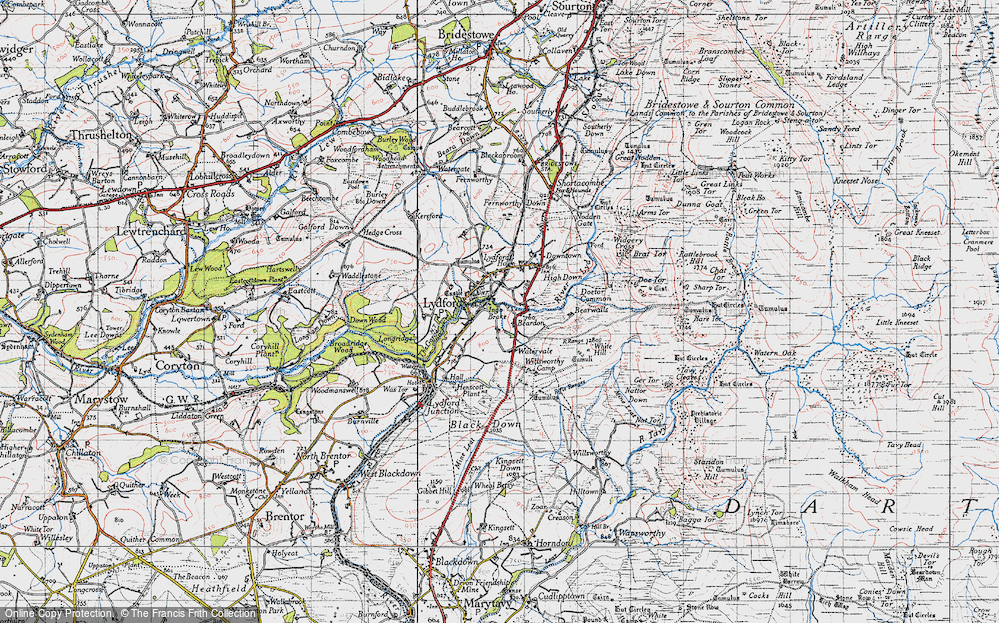 Old Map of Lydford, 1946 in 1946