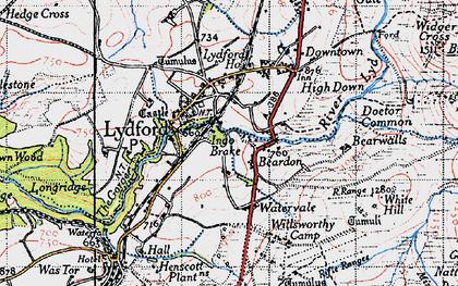 Old map of Willsworthy Range in 1946