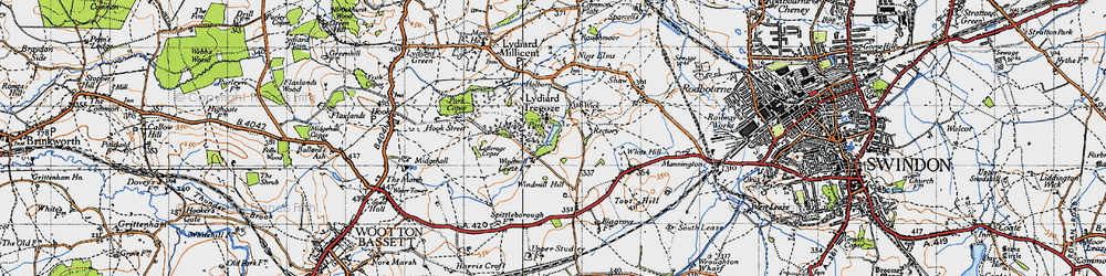 Old map of Lydiard Tregoze in 1947