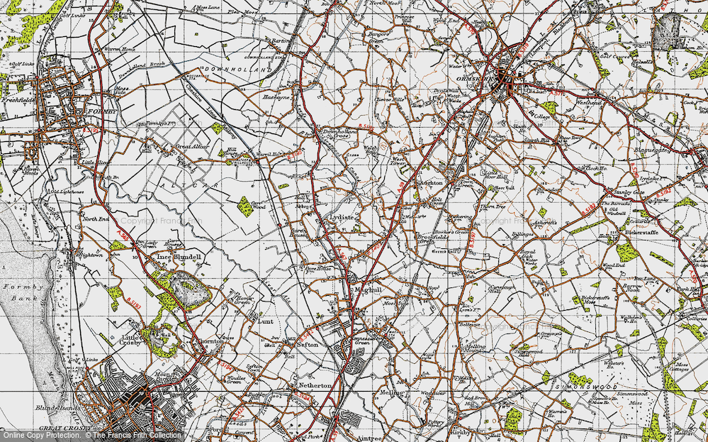 Old Map of Historic Map covering Aughton Chase in 1947