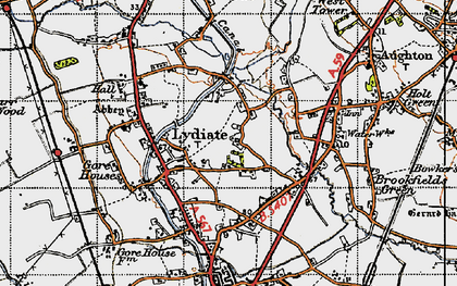 Old map of Lydiate in 1947