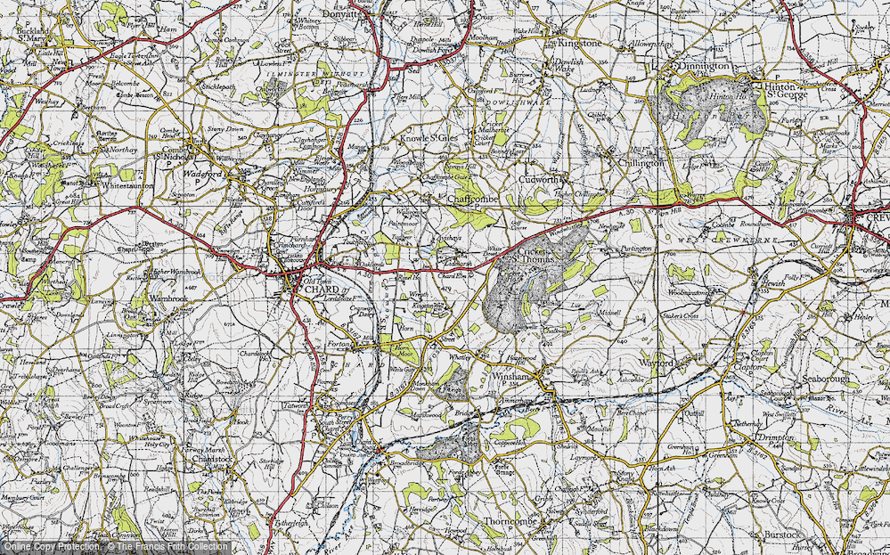 Old Map of Historic Map covering Avishays in 1945