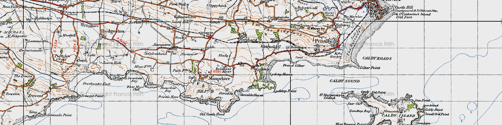 Old map of Whitewell in 1946