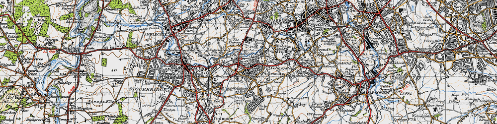 Old map of Lye in 1947