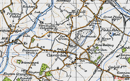 Old map of Ardencote Manor Hotel in 1947