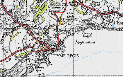 Old map of Lyme Regis in 1945