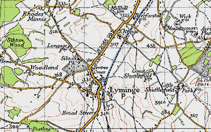 Old map of Lyminge in 1947