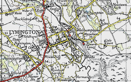 Old map of Lymington in 1945