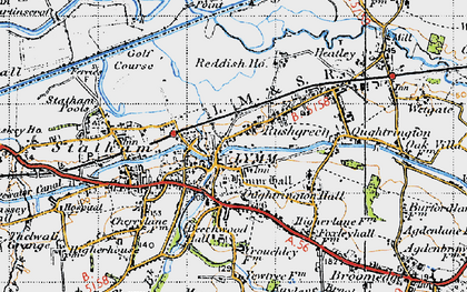 Old map of Lymm in 1947