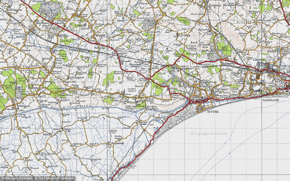 Old Map of Lympne, 1947 in 1947