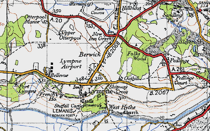 Old map of Lympne in 1947