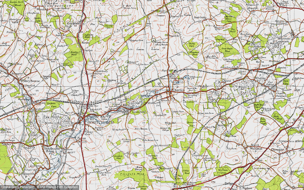 Old Map of Historic Map covering Laverstoke Ho in 1945