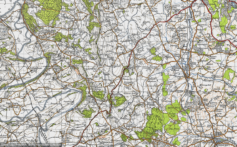 Old Map of Historic Map covering Awnells in 1947