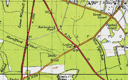 Old map of Lynford in 1946