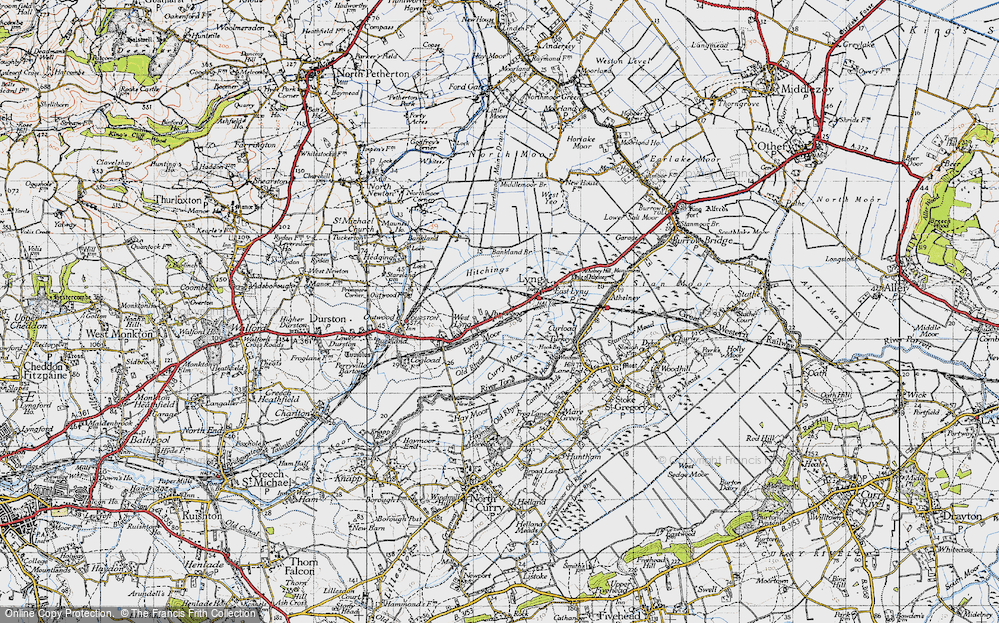 Old Map of Historic Map covering Bankland Br in 1945