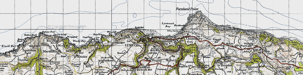 Old map of Wind Hill in 1946