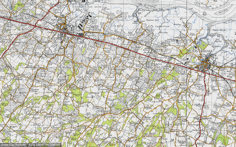 Old Map of Historic Map covering Aymers in 1946