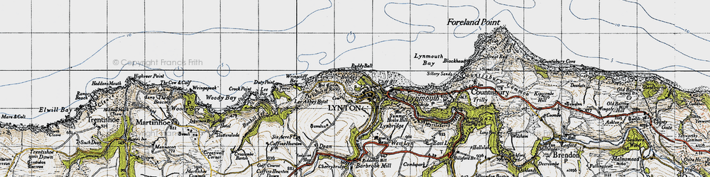 Old map of Lynton in 1946