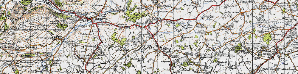 Old map of Lyonshall in 1947