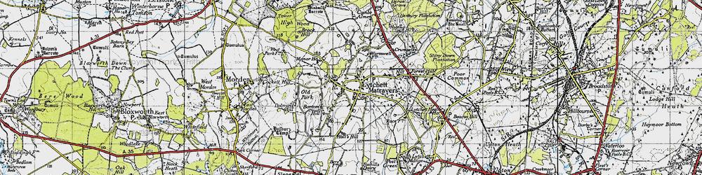 Old map of Lytchett Matravers in 1940