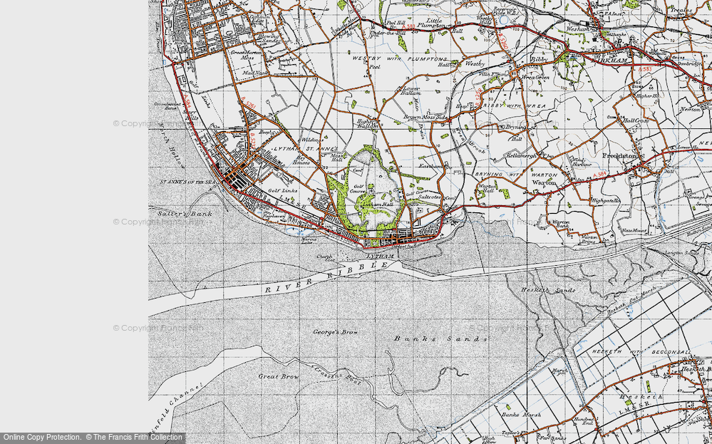 Old Map of Historic Map covering Banks Sands in 1947
