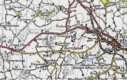 Old map of Mabe Burnthouse in 1946