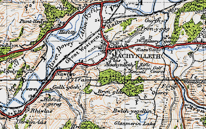 Old map of Machynlleth in 1947