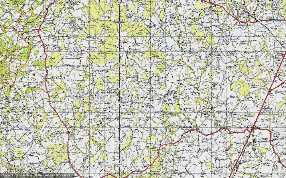 Old Map of Historic Map covering Lanelands in 1940