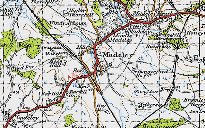 Old map of Madeley in 1946