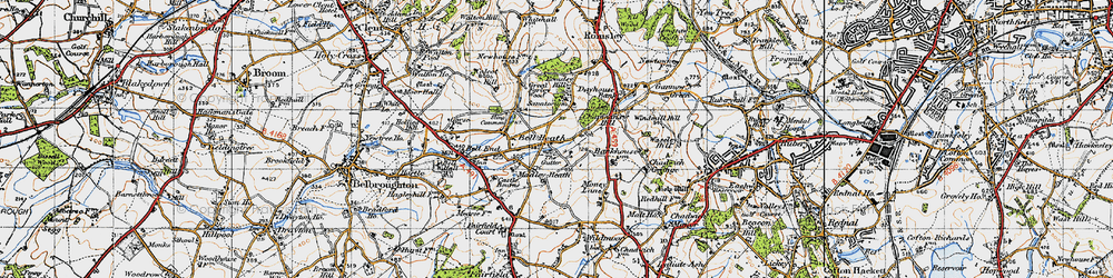 Old map of Madeley Heath in 1947