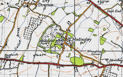 Old map of Madingley in 1946