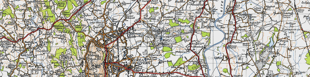 Old map of Madresfield in 1947