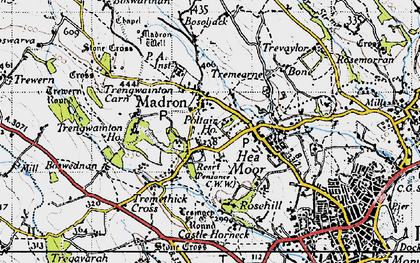 Old map of Trengwainton Ho in 1946