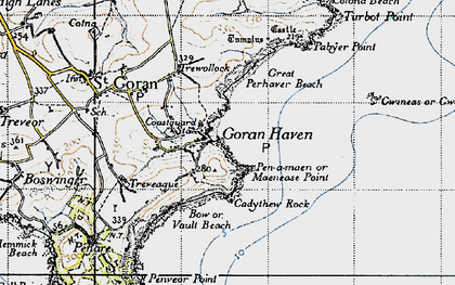 Old map of Maenease Point in 1946