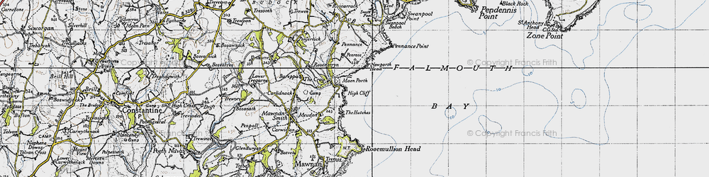 Old map of Maenporth in 1946