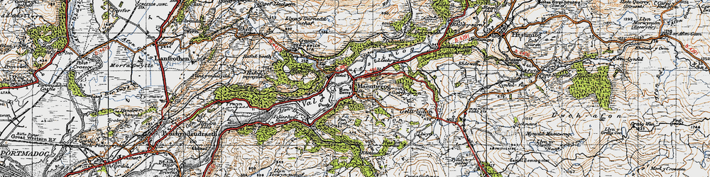 Old map of Maentwrog in 1947