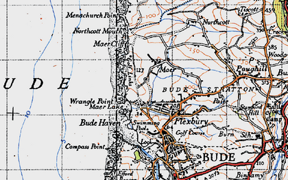 Old map of Maer in 1946