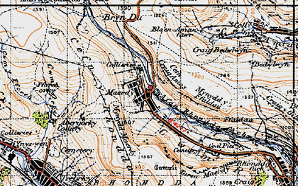 Old map of Afon Rhondda Fach in 1947