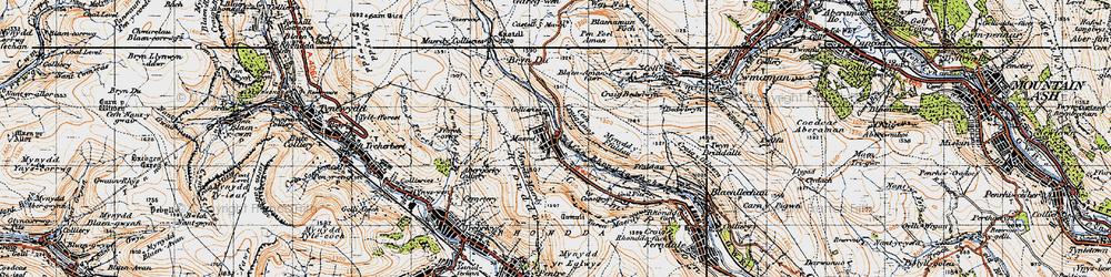 Old map of Afon Rhondda Fach in 1947