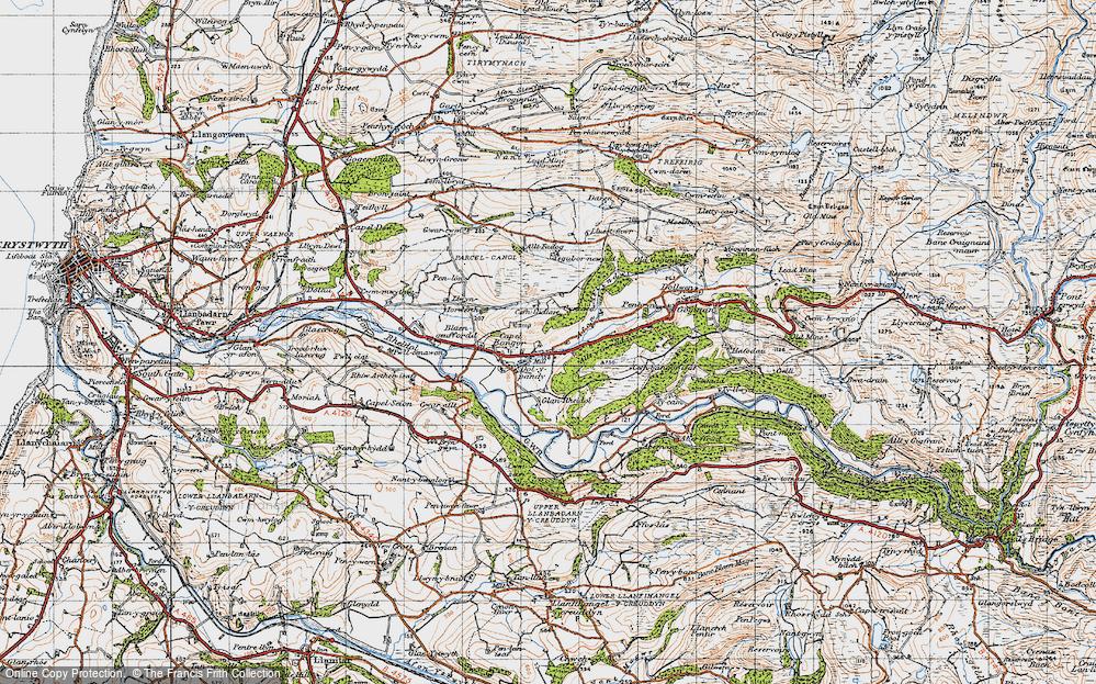 Old Map of Historic Map covering Allt y Gwreiddyn in 1947