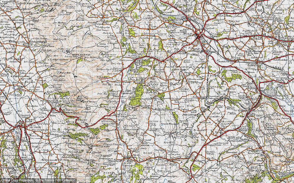 Old Map of Historic Map covering Tir-y-coed in 1947