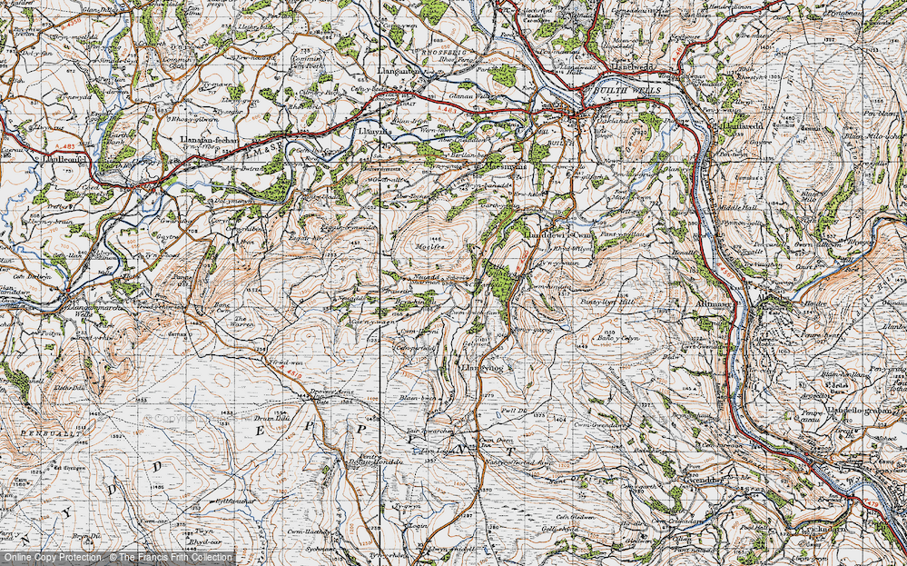 Old Map of Historic Map covering Allt Cynhelyg in 1947