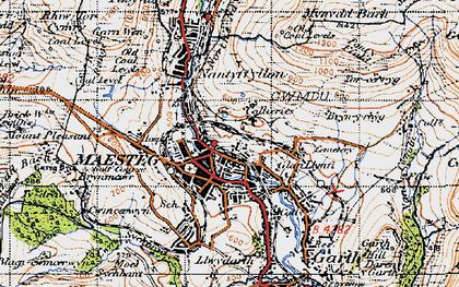 Old map of Maesteg in 1947
