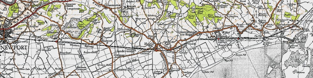 Old map of Magor in 1946