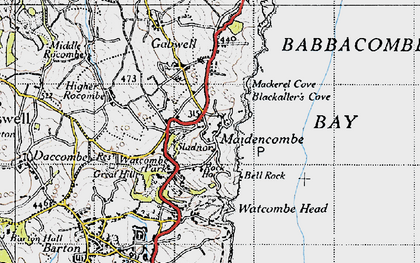 Old map of Maidencombe in 1946