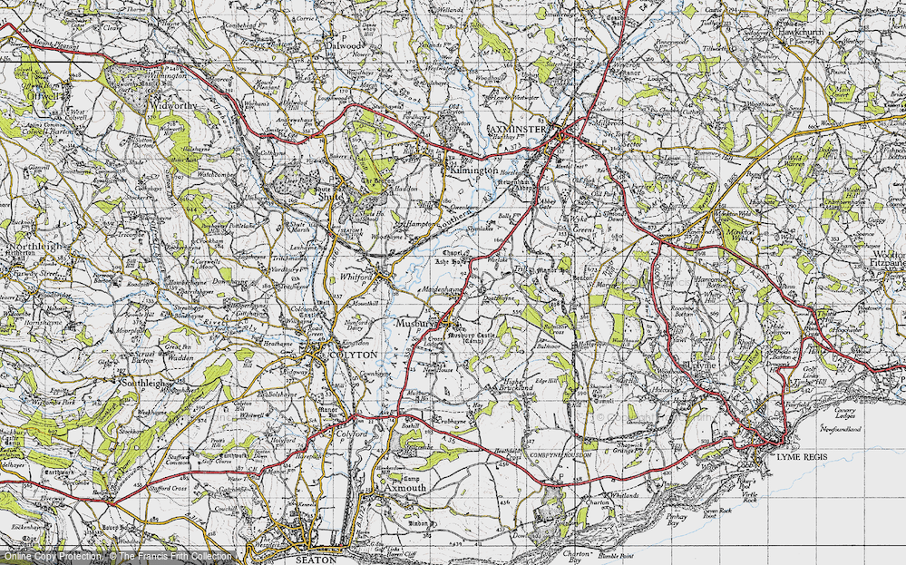 Old Map of Historic Map covering Ashe House in 1946